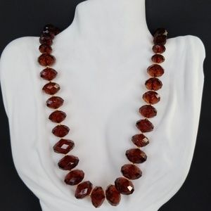 Joan Rivers Chunky Faceted Amber Bead Necklace EUC